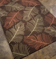 Hand-hooked Chocolate Feathers Rug (7'6 x 9'6)