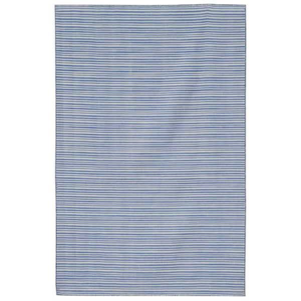 Blue Flat-weave Dhurrie Wool Rug (8' x 10')