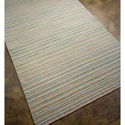 Flat Weave Blue Stripe Wool Rug (4' x 6')