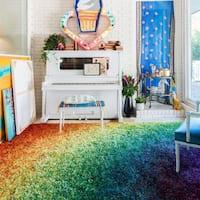 Alexander Home Stella Rainbow Shag Rug - 5'2 x 7'7