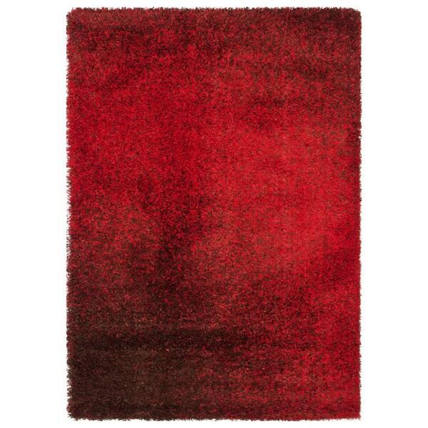 Stella Red/ Brown Shag Rug (7'7 x 10'5)