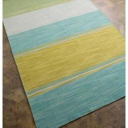 Flat Weave Yellow Stripe Wool Rug (4' x 6')