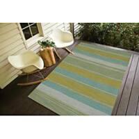 Naxos Handmade Stripe Aqua/ Green Area Rug - 8' x 10'