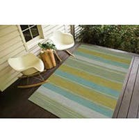 Naxos Handmade Stripe Aqua/ Green Area Rug (5' X 8') - 5' x 8'