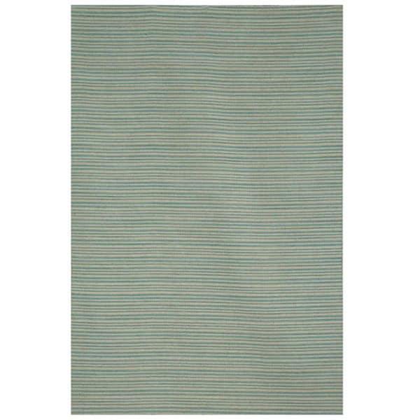 Hand-tufted Flat Weave Blue Wool Rug (8' x 10')