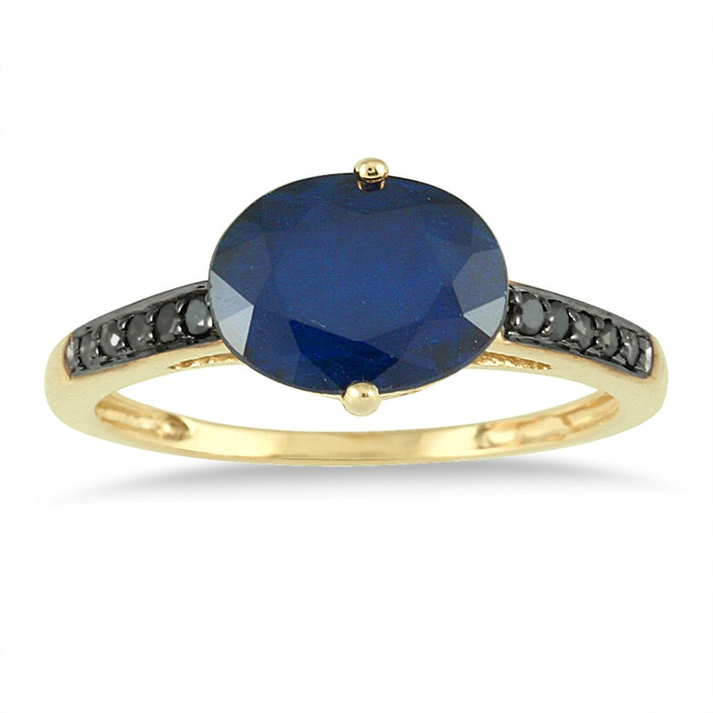 Marquee Jewels 10k Yellow Gold Sapphire and 1/10ct TDW Black Diamond Ring