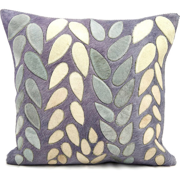 Mina Victory Natural Leather and Hide Mix Leaves Dark Blue Throw Pillow (20-inch x 20-inch) by Nourison