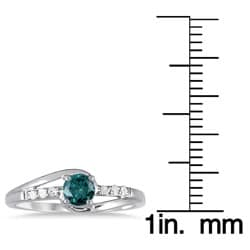 Marquee Jewels 10k White Gold 2/5ct TDW Blue and White Diamond Ring (I-J, I1-I2) - Thumbnail 2