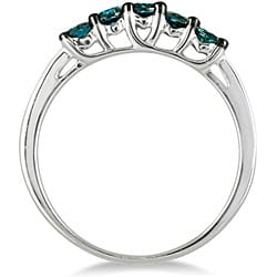 Marquee Jewels 10-karat White-gold 1/4-carat TDW Brilliant Blue Diamond Ring - Thumbnail 1