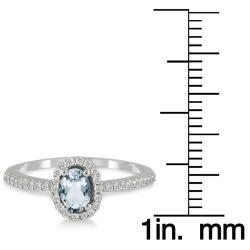 Marquee Jewels 10k White Gold Aquamarine and 1/5ct TDW Diamond Ring (I-J, I1-I2) - Thumbnail 2