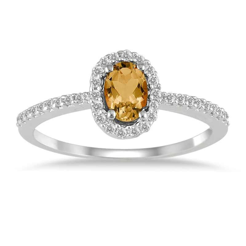 Marquee Jewels 10k White Gold Citrine and 1/5ct TDW Diamond Ring (I-J, I1-I2)