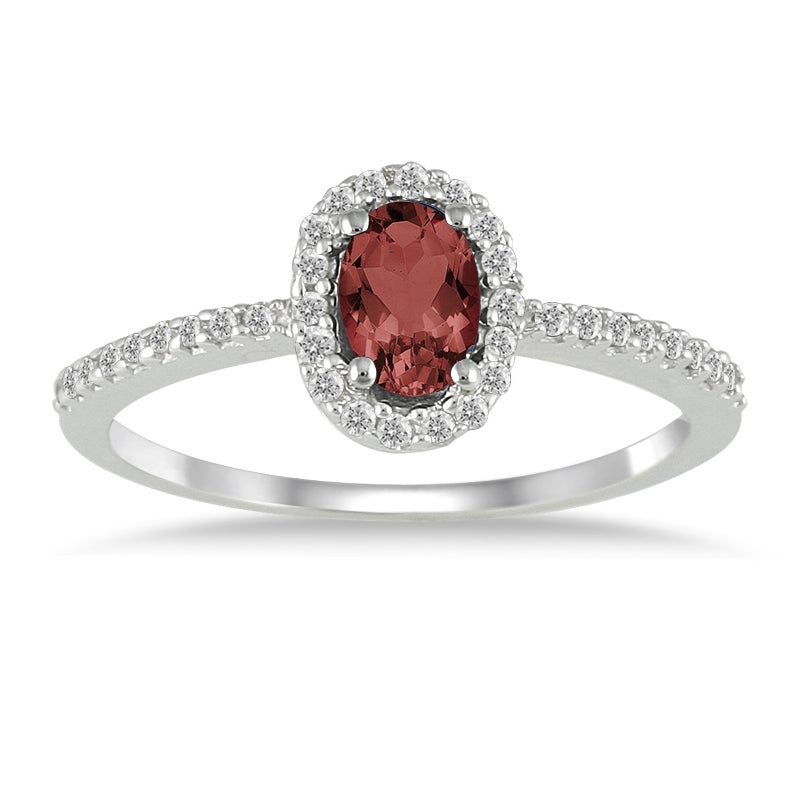 Marquee Jewels 10k White Gold Garnet and 1/5ct TDW Diamond Ring (I-J, I1-I2)