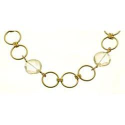 Goldtone 'Full Circle' Crystal Necklace - Thumbnail 1