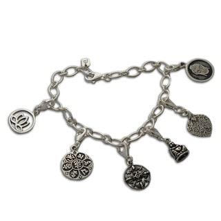 Handmade Sterling Silver 'Buddha's Delight' Charm Bracelet (Thailand)