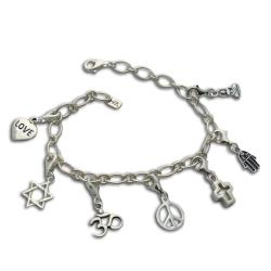 Handmade Sterling Silver 'Coexistence' Charm Bracelet (Thailand)