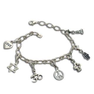 Handmade Sterling Silver 'Coexistence' Charm Bracelet (Thailand)