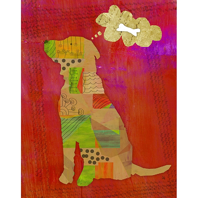 Ankan 'Dog on Red' Gallery-wrapped Canvas Art