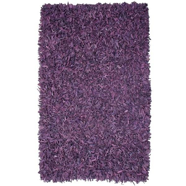 Hand-tied Pelle Purple Leather Shag Rug (8' x 10')