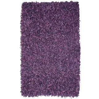 Hand-tied Pelle Purple Leather Shag Rug (8' x 10')