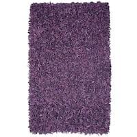 Hand-tied Pelle Purple Leather Shag Rug (8' x 10') - 8' x 10'