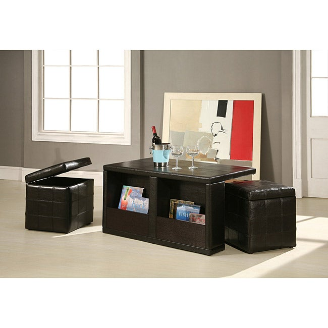 Neptune Cocktail Table Coffee Table with Storage Stools - 13912685 - Overstock.com Shopping ...