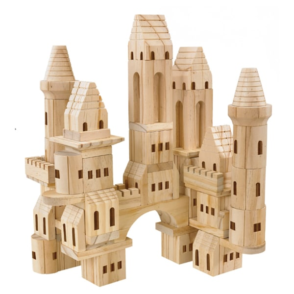 TreeHaus 75-piece Wooden Castle Blocks