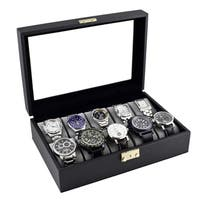 Caddy Bay Collection Classic Black Leatherette Watch Case Display Box