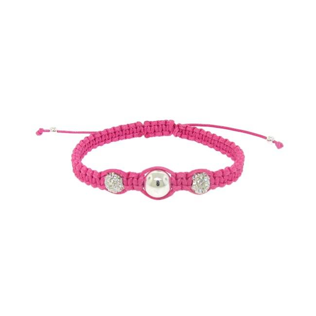 Sterling Silver White Crystal Pink Bracelet