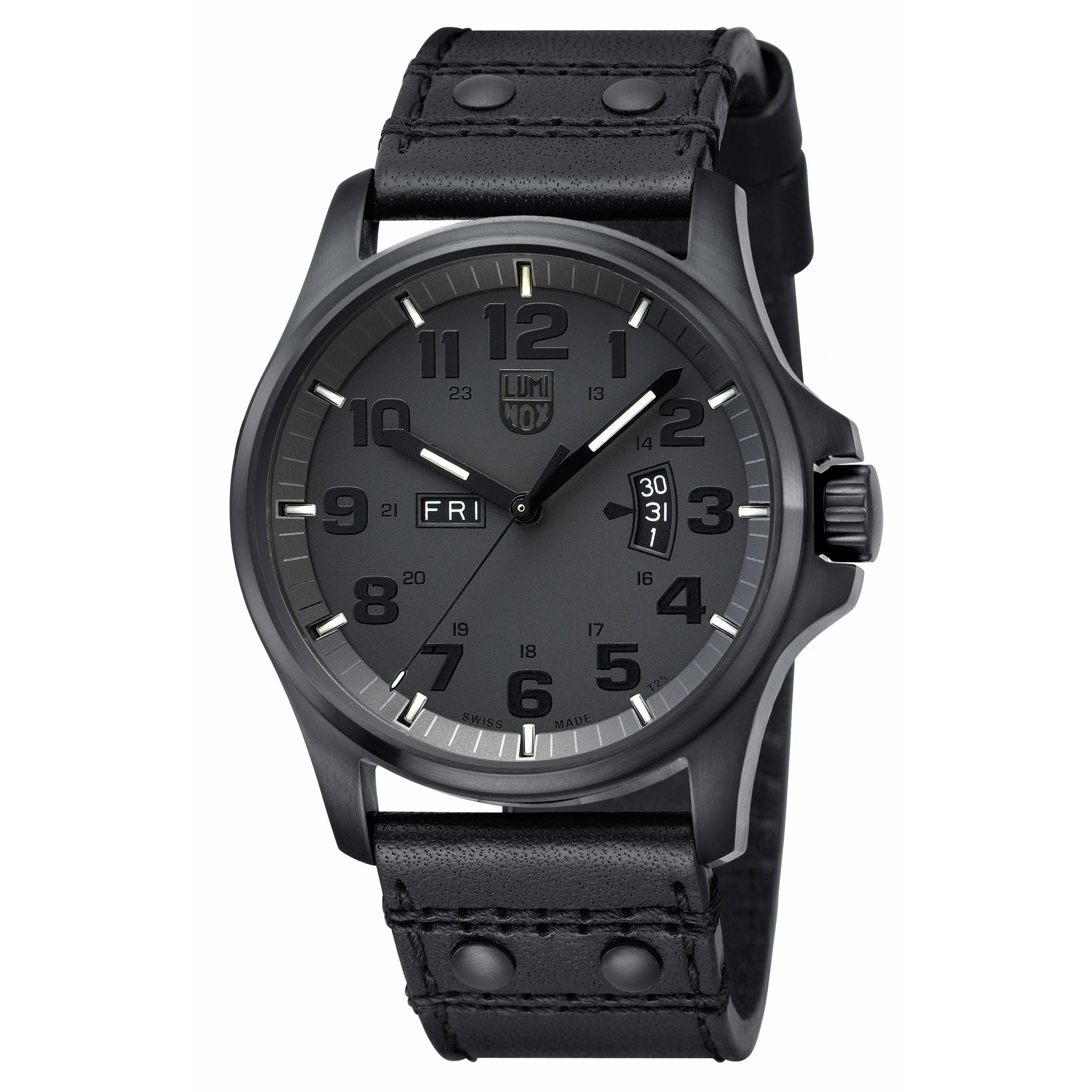 Shop luminox mens blackout black leather watch free shipping today overstock com 6280653