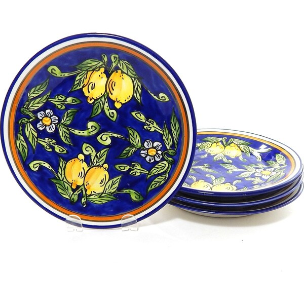 Set of 4 Citronique Design 8-inch Round Side Plates (Tunisia)