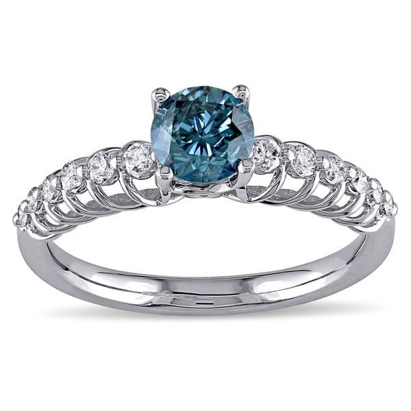 Miadora Signature Collection 18k White Gold 3/4ct TDW Blue and White Diamond Ring