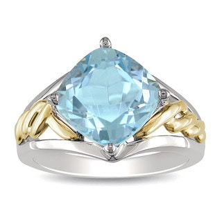 Miadora 10k Yellow Gold and Sterling Silver Sky Blue Topaz Fashion Ring