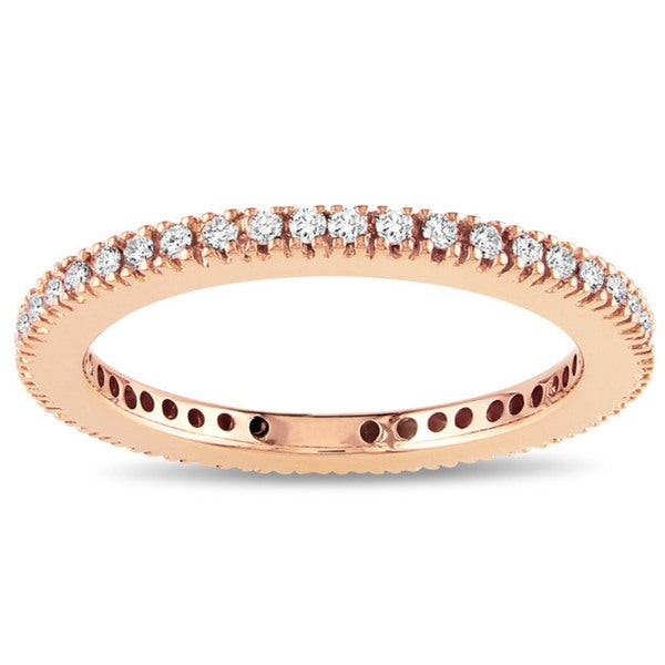 Miadora 18k Rose Gold 1/3ct TDW Certified Diamond Eternity Band (G-H, SI1-SI2)