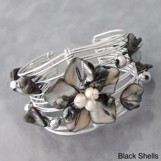 Silvertone Seashell and Pearl Floral Cuff Bracelet