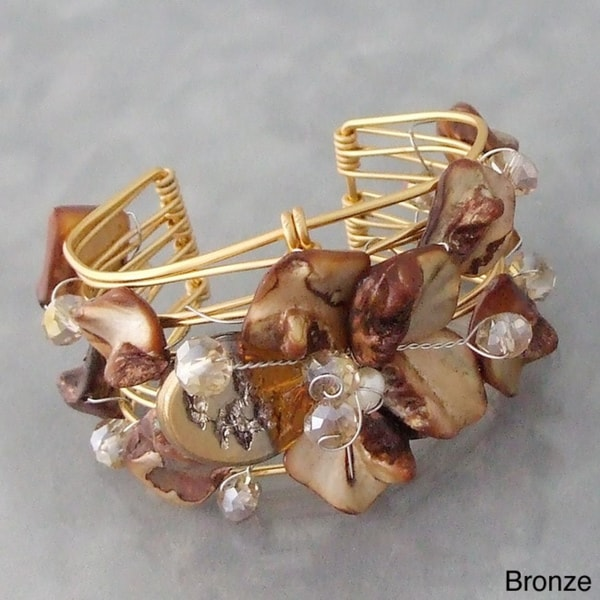 Handmade Goldtone Seashell Floral Cuff Bracelet (Philippines)