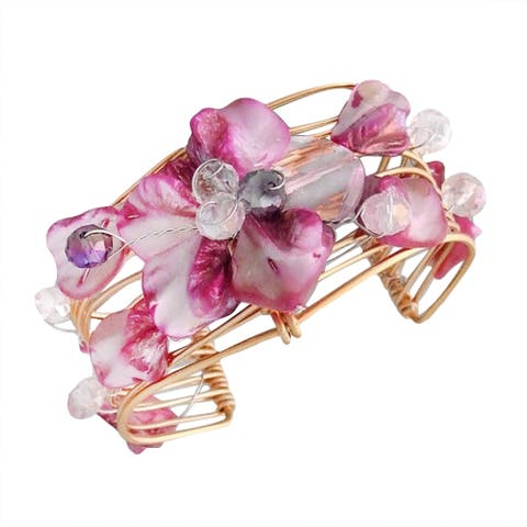 Handmade Goldtone Seashell Floral Cuff Bracelet (Philippines)