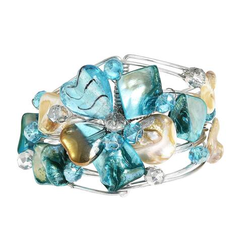Handmade Silvertone Blooming Love Seashell Floral Cuff Bracelet (Philippines)