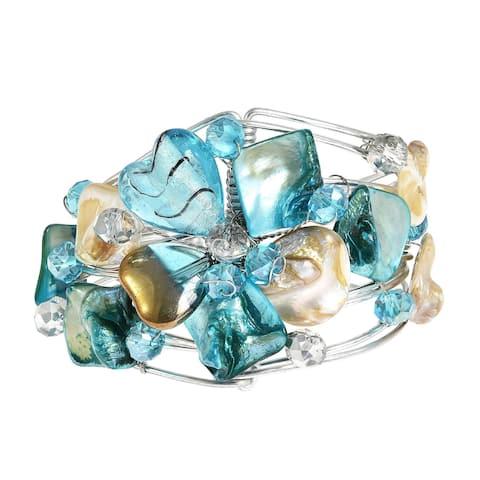 Handmade Silvertone Blooming Love Seashell Floral Cuff Bracelet (Philippines)
