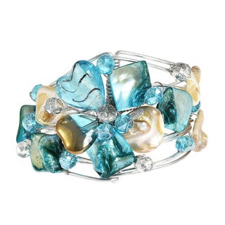 Handmade Silvertone 'Blooming Love' Seashell Floral Cuff Bracelet (Philippines)