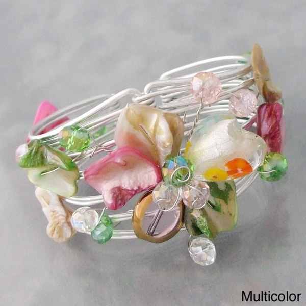 Silvertone 'Blooming Love' Seashell Floral Cuff Bracelet (Philippines)