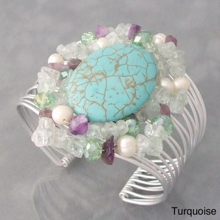 Aluminum Silver Gemstone and Pearl Cuff Bracelet (Philippines)