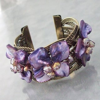 Handmade Mother of Pearl Floral Cuff Bracelet (Philippines)