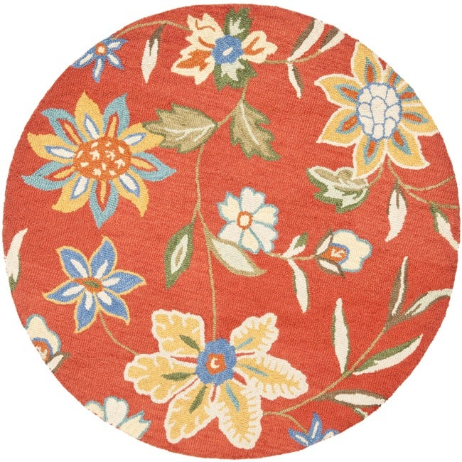 Safavieh Handmade Blossom Rust Wool Rug 6 Round Free