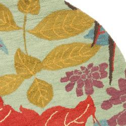 Safavieh Handmade Blossom Blue Wool Rug (6' Round) - Thumbnail 1