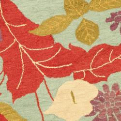 Safavieh Handmade Blossom Blue Wool Rug (6' Round) - Thumbnail 2