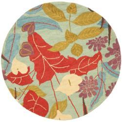 Safavieh Handmade Blossom Blue Wool Rug (6' Round) - 6' - Thumbnail 0