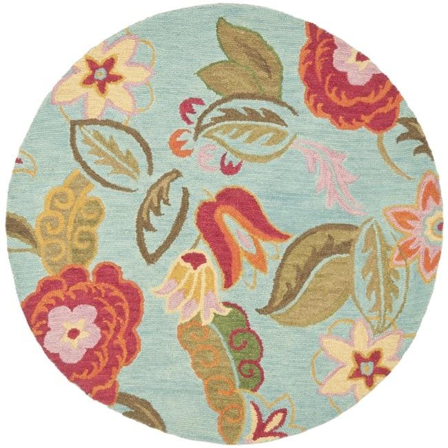 Handmade Blossom Blue Wool Rug (6 Round)