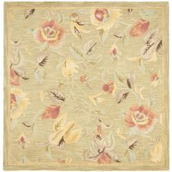 Safavieh Handmade Blossom Green Wool Rug (6' Square)