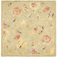 Safavieh Handmade Blossom Green Wool Rug (6' Square) - 6' Square