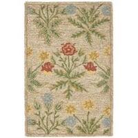 Safavieh Handmade Blossom Beige Wool Rug - 2'6' x 4'
